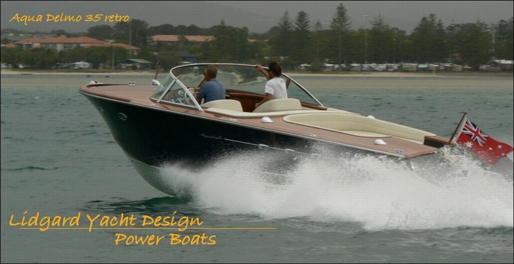 Retro power boat by Lidgard Yacht Design