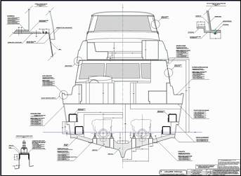 64 ft production monohull powerboat designs by Lidgard Yacht Design midship section