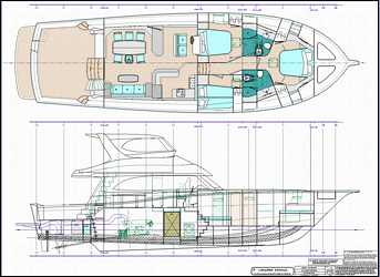 64 ft production monohull powerboat designs by Lidgard Yacht Design general arrangement plan