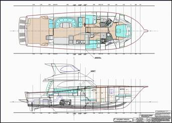 Production monohull powerboat designs by Lidgard Yacht Design general arrangement plan