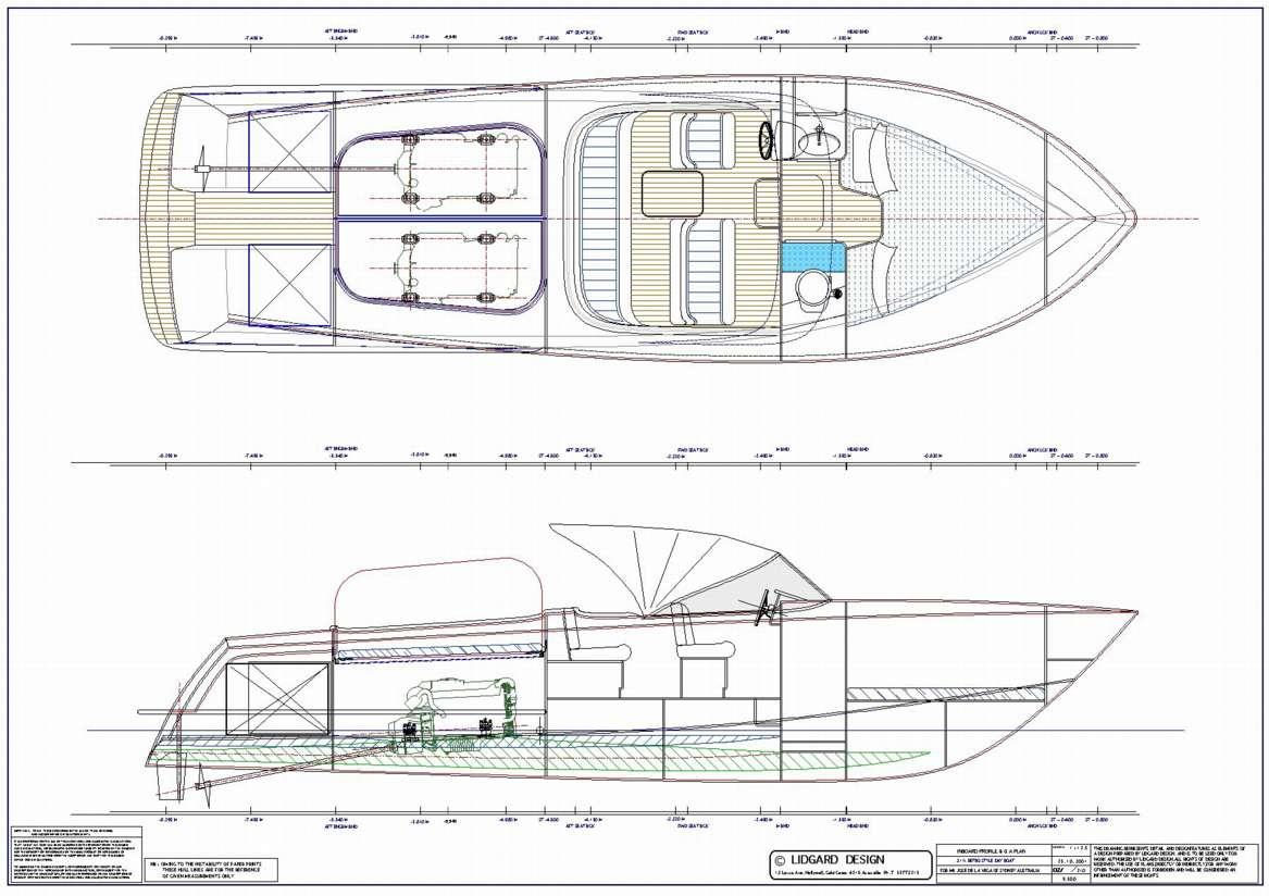 Classic 32ft Retro Day Boat by Lidgard Yacht Design Australia.